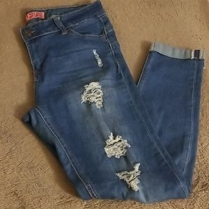WAX JEANS - thigh distressed jeans